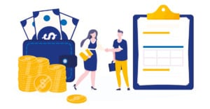 Vector illustration of people shaking hands, exchanging money and contract agreement